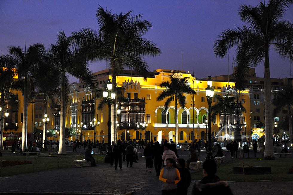 The Plaza Mayor or Plaza de Armas of Lima