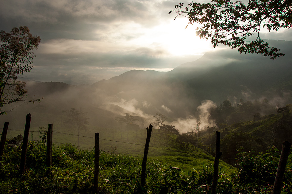Sun breaking through the clouds on the second morning to Ciudad Perdida