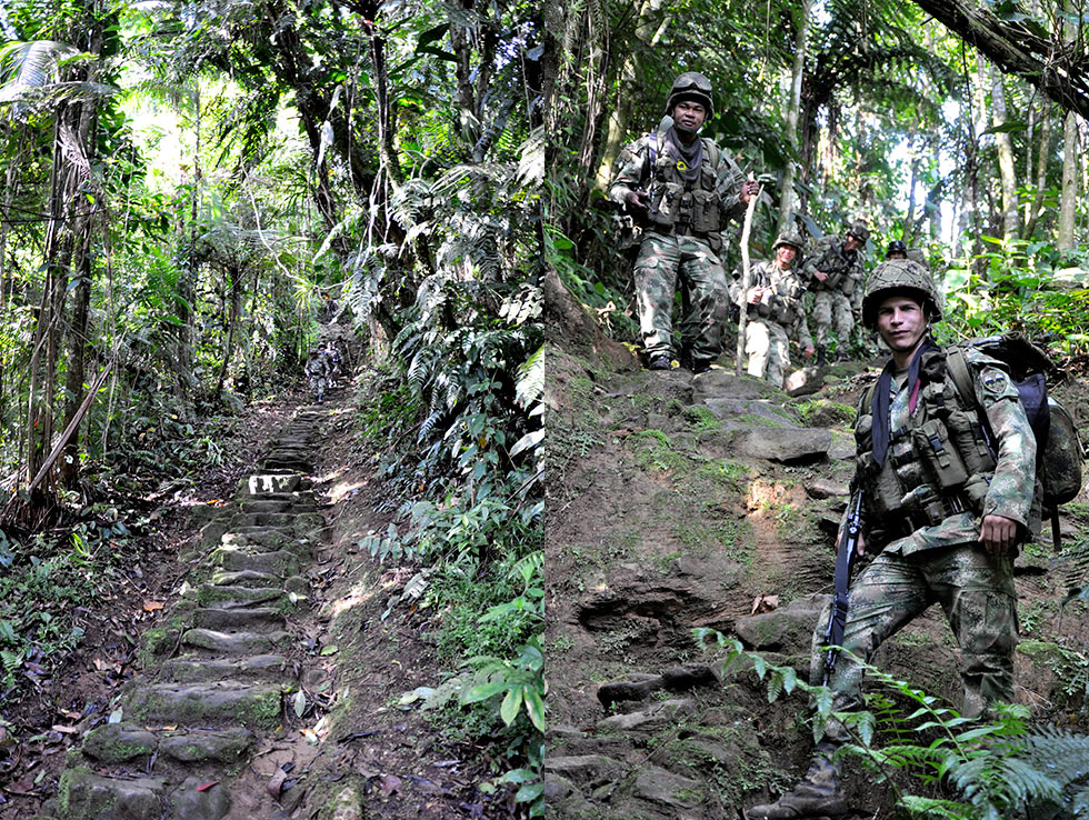 1200 stone steps & Colombian soldiers
