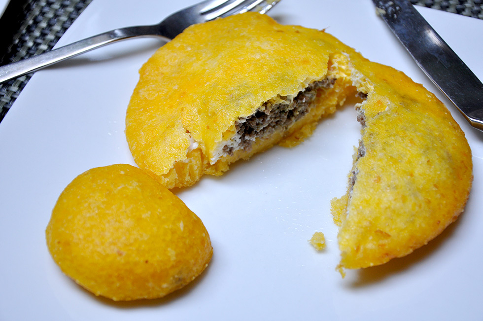 Colombian arepa in Cartagena