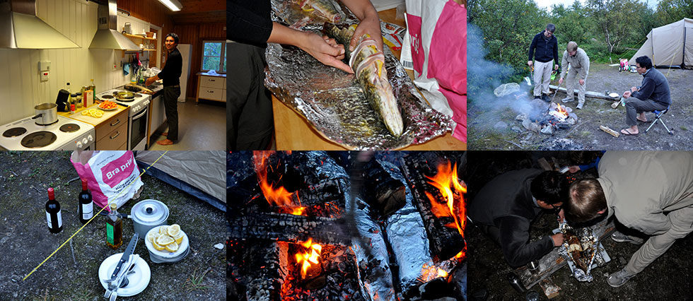 Preparing the fish in the camping station and cooking over the fire