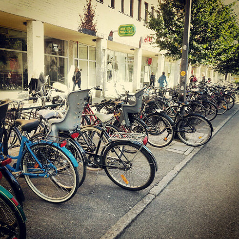 Bicycles in downtown Umeå