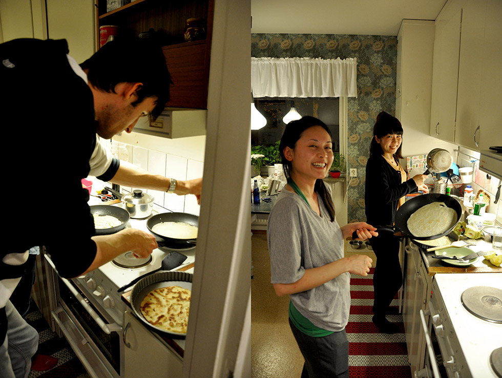 A very tall Victor making the first batch of crepes, Lorena & Yui making more crepes