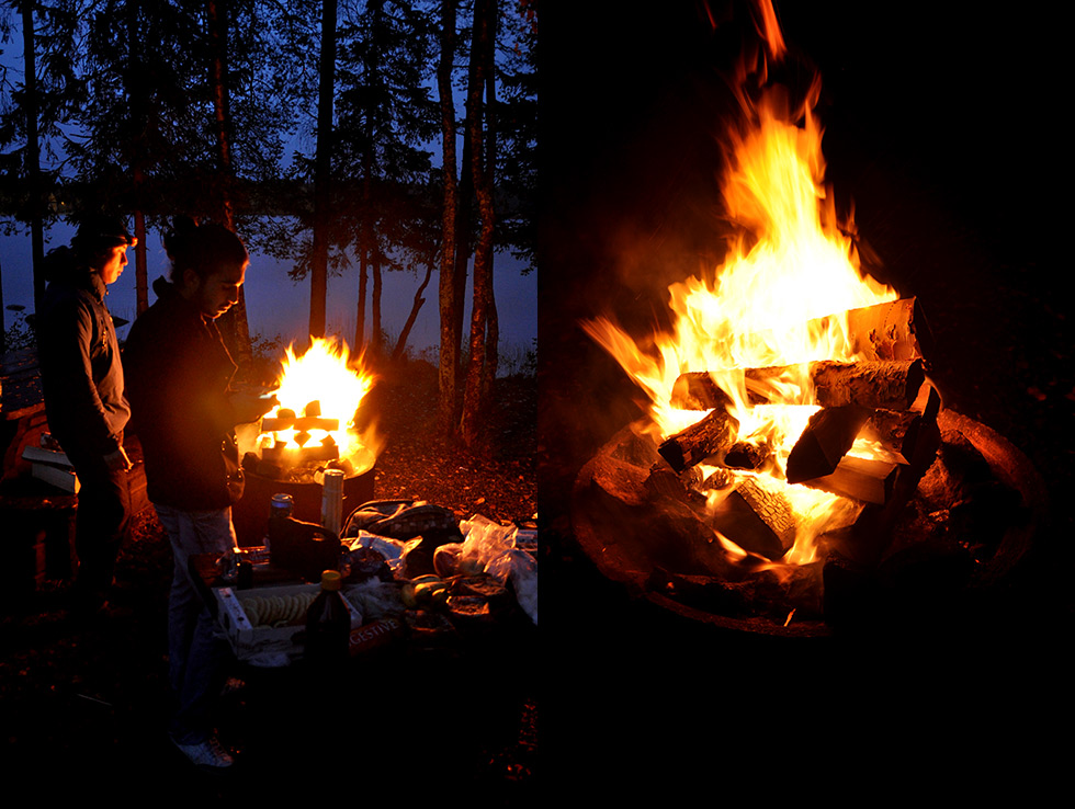 Building a fire on lake Nydalasjön