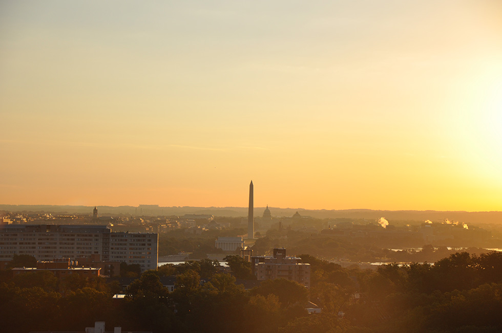 Washington DC view of sunrise from Arlington, Virginia