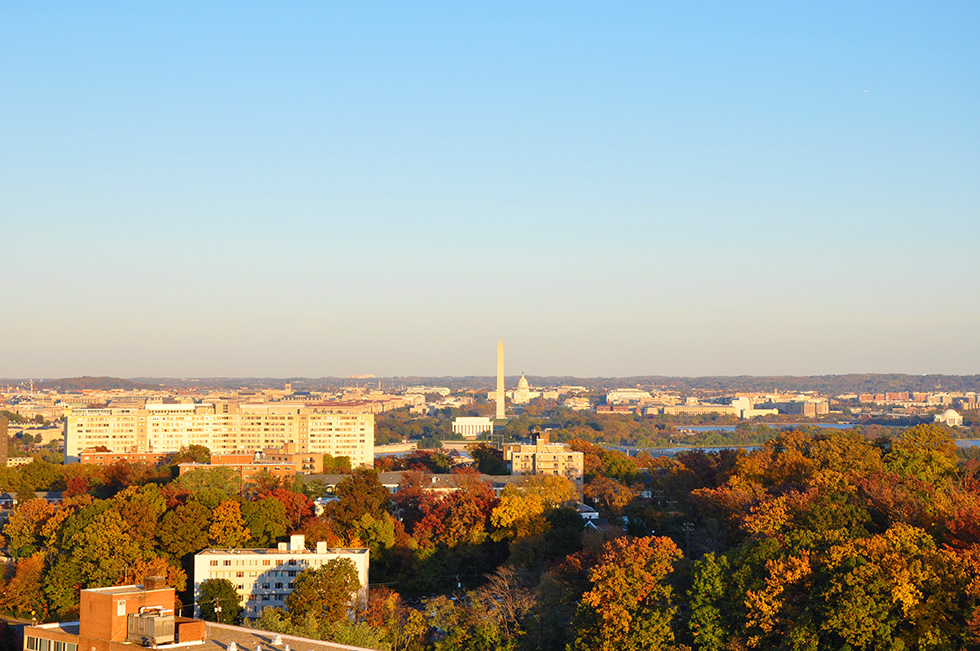 Washington DC view of fall from Arlington, Virginia