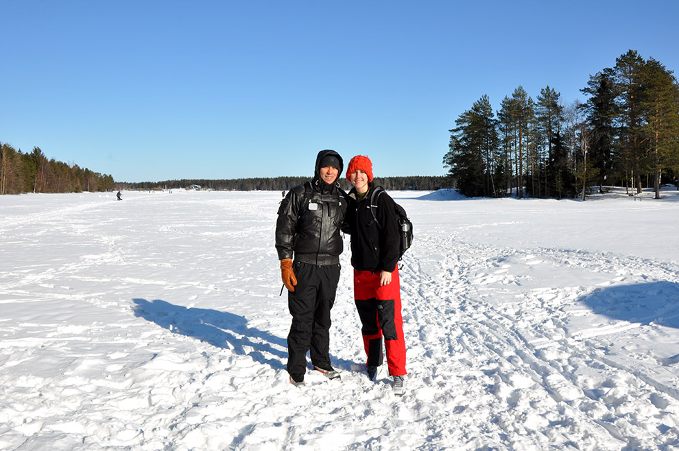 Standing on frozen Nydala Lake