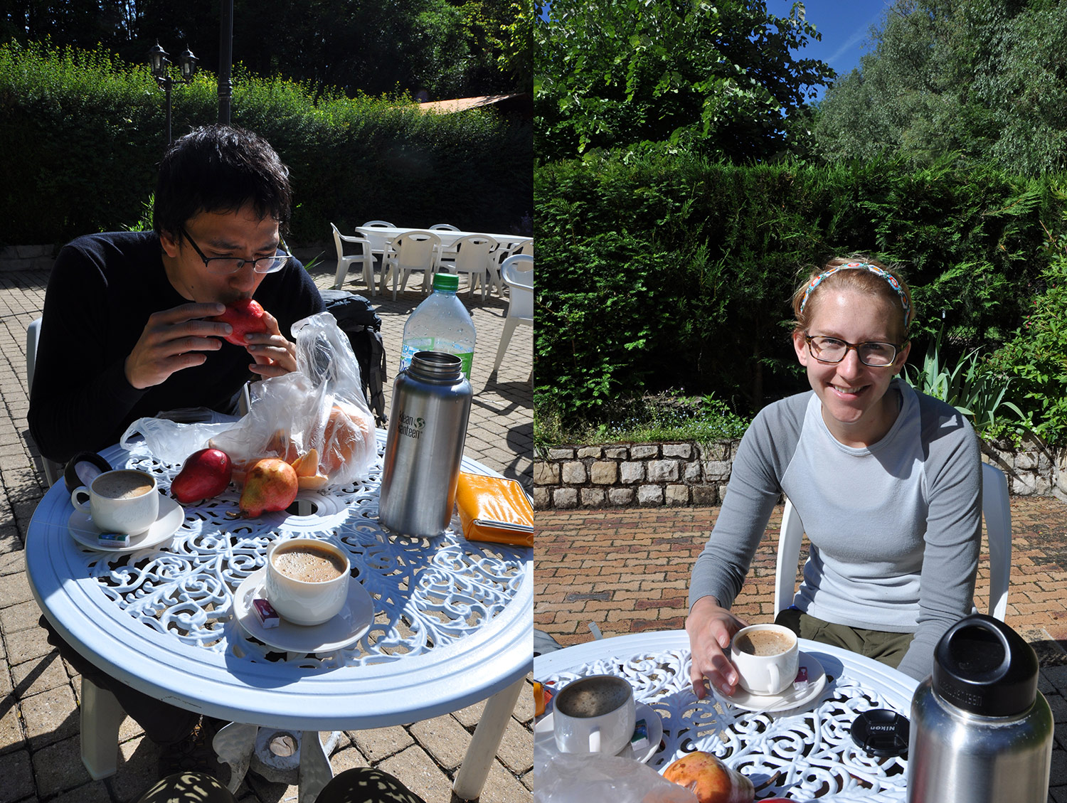 Breakfast outside Les Courtilles du Lido