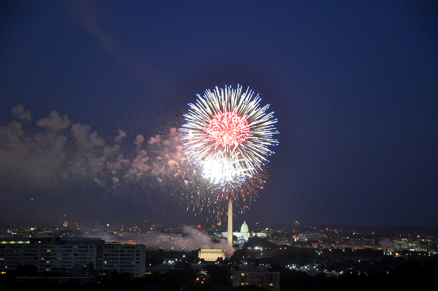 July 4th fireworks over DC from Arlington apartment (2010)