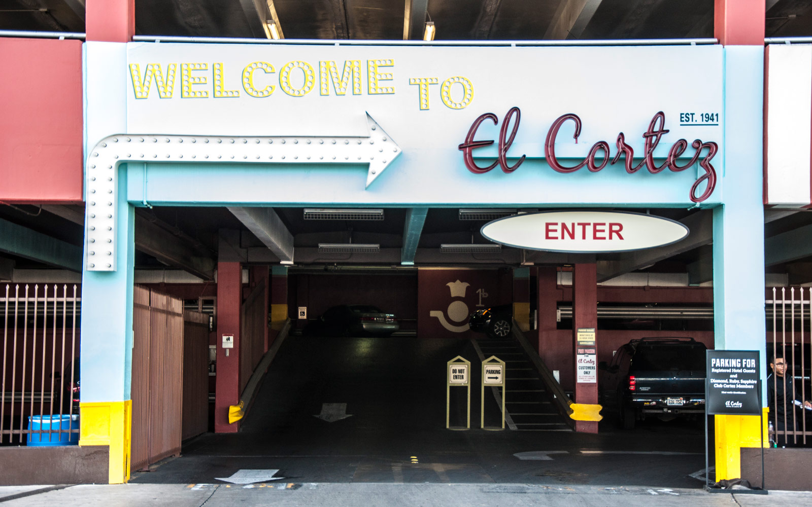 El Cortez parking garage sign