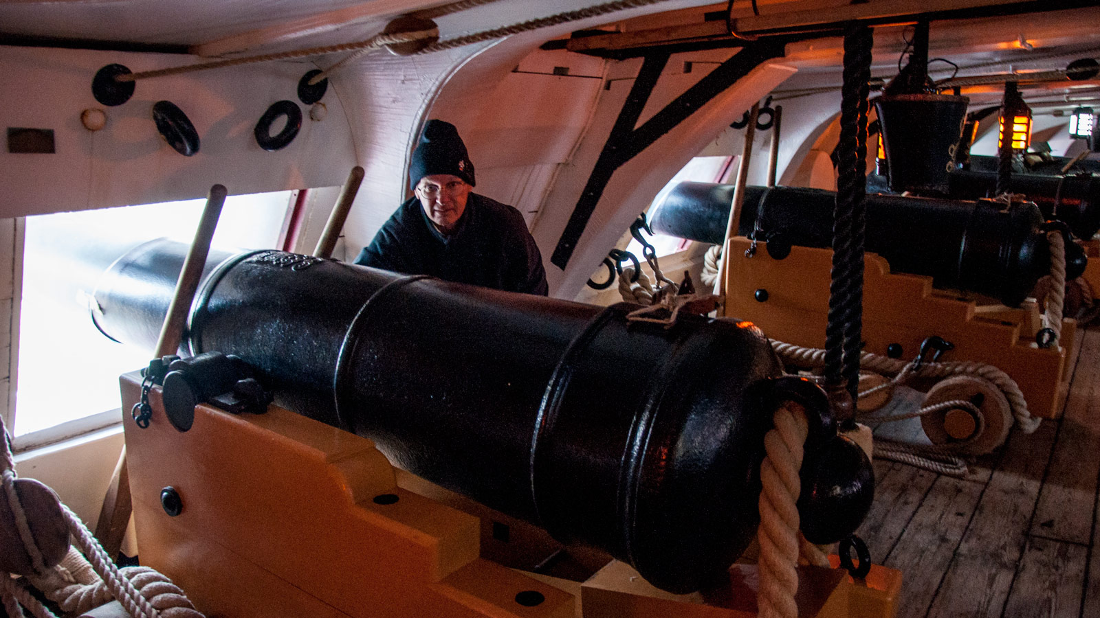 Dad with HMS Victory canon