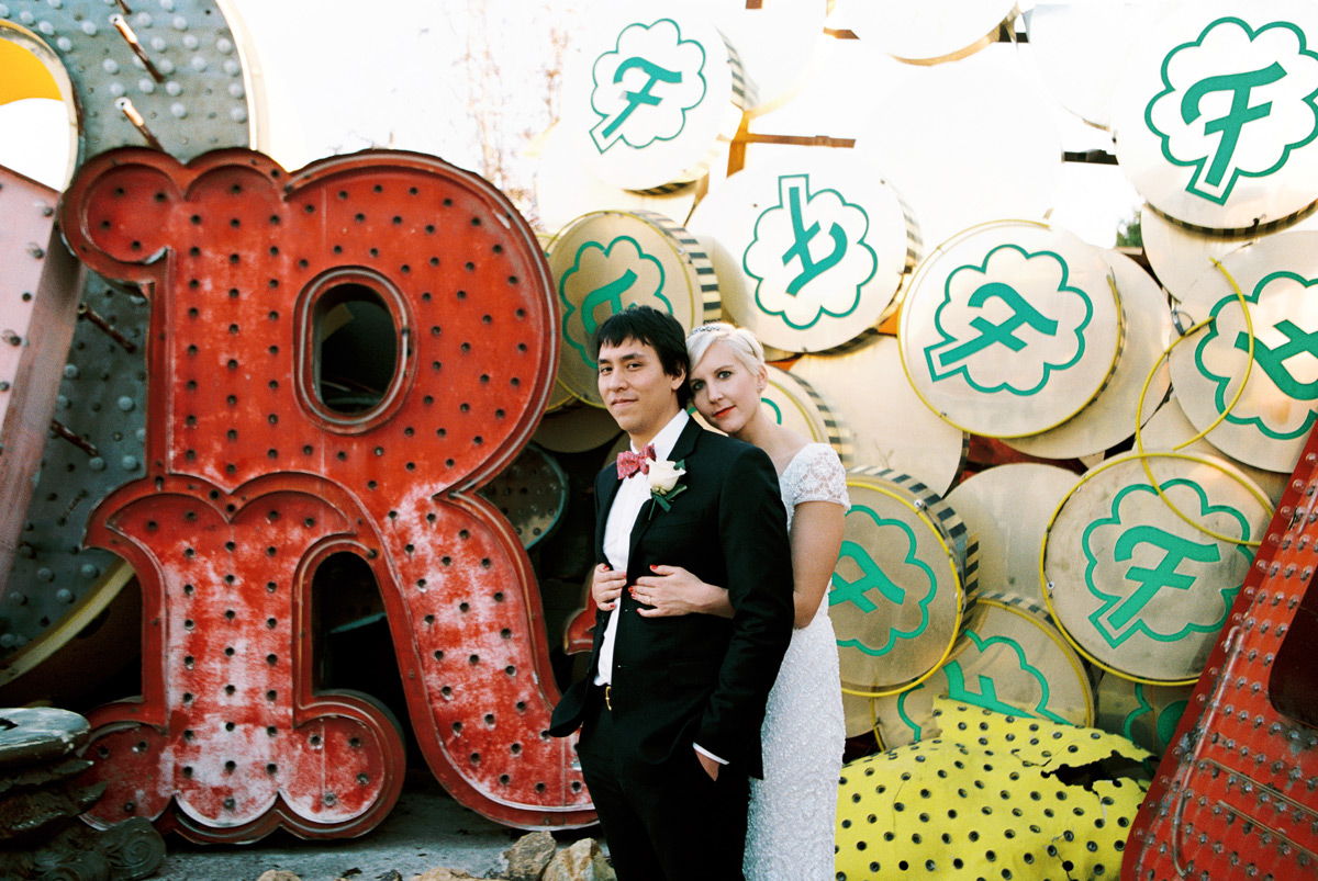 Las Vegas downtown wedding photos at the Neon Museum