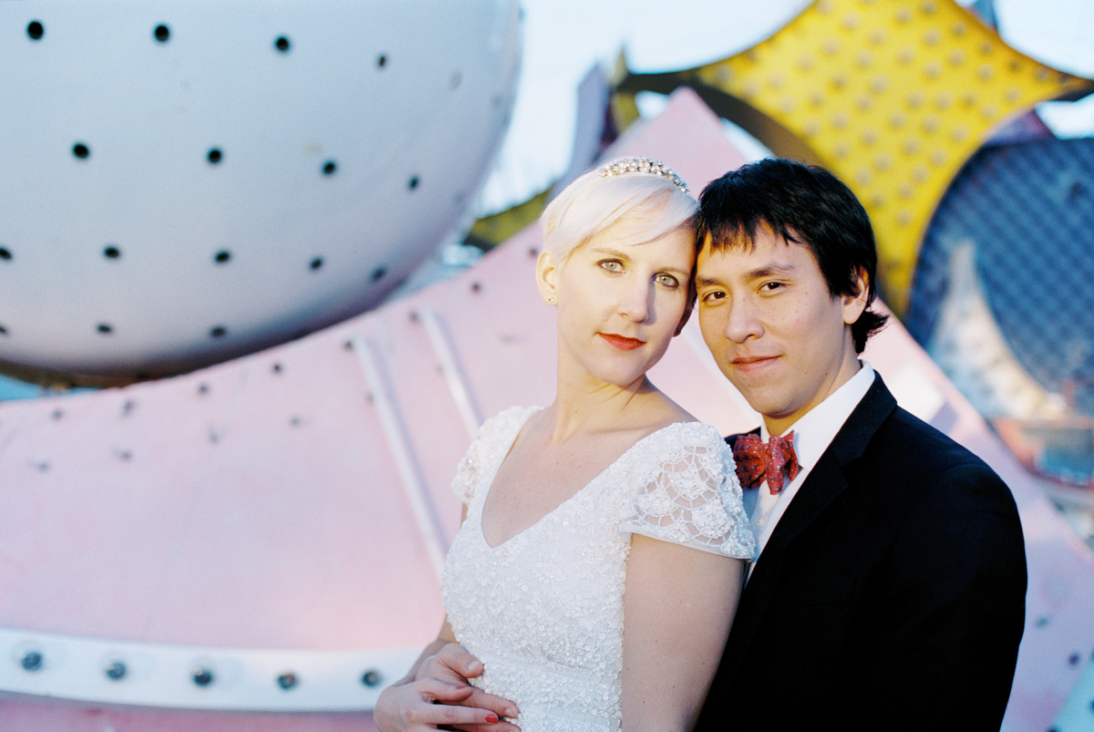 Las Vegas downtown wedding photos at the Neon Boneyard Museum