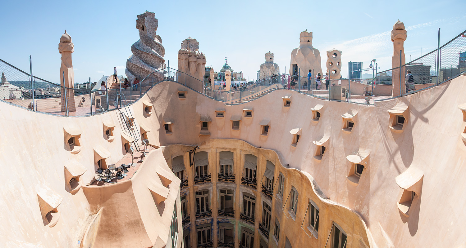 Casa Milà courtyard and roof